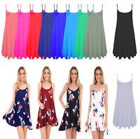 Women Ladies Plain Summer Cami Swing Min Dress Long Top vest Plus lot Size 8-26