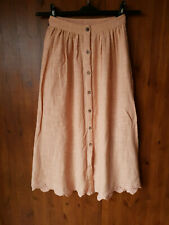FREE PEOPLE BOHO MIDI SKIRT Light Orange Button Front Crochet XS / UK 6 / 34 NEW