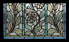 Stunning Rare Art Nouveau Leafy Beauty Antique English Stained Glass Window