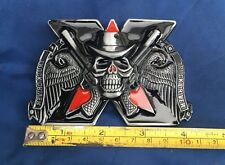 Truck Driver Skull & Pistols Belt Buckle Metal Brand New Unworn Unused