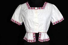 RARE ETHNIC FRENCH 1920'S-1930'S WHITE COTTON  EMBROIDERED BLOUSE SIZE MEDIUM
