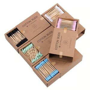 200PCS/Box Double Head Bamboo Sticks Cotton Swab Disposable Buds For Beauty