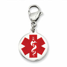 Stainless Steel Medical Alert Jewelry Charm lobster clasp