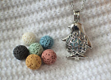 Penguin Essential Oil Aromatherapy Diffuser Necklace with 6 lava stones!