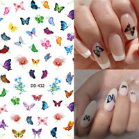 Butterfly 3D Nail Stickers Adhesive Transfer Decals Nail Art Decoration Sheets