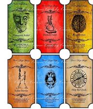 Vintage inspired Halloween color 6 large bottle label stickers apothecary labels