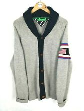 Mens TOMMY HILFIGER Limited Edition Chunky Knit Cardigan Cashmere Wool Grey | XL