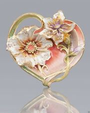 JAY STRONGWATER MARGAUX FLORAL HEART TRINKET TRAY ENAMELED SWAROVSKI CRYSTALS
