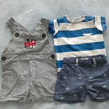 Lot of 3. Baby boy 6-9 months blue striped denim overall, short & bodysuit