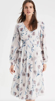 BNWT Phase Eight  Emanuella Floral Midi Dress Oyster UK 14 RRP £130