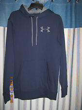 Men's L Under Armour Solid Navy Polyester Long Sleeve Water Resistant Hoodie
