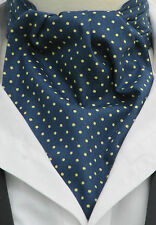 Mens Navy Blue Yellow Pin Dot 100% Cotton Ascot Cravat & Hanky - Made in UK