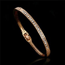 Gold Plated Stainless Steel Cuff Bangle Jewelry Crystal Bracelet Women