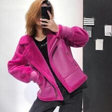 Womens Sheepskin Leather Jacket Motorcycle Fur Coat Parka Outwear Lapel Casual