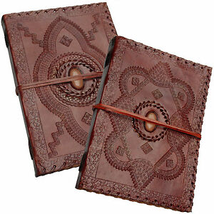 """Real Leather Handmade Vintage Journal Sketchbook Diary with Orange Stone 10""""x7"""""""