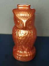"Ceramic Metallic Orange Owl Coin Bank 7"" Tall"