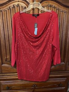 Alex Marie Black Sequin Top Size 2X NWT Small Defect