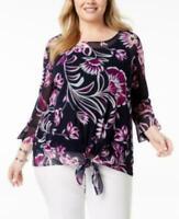 Alfani Purple Floral Sheer Tie Scoop Neck 3/4 Sleeve Blouse Top Plus Sz 0X B1514