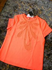 $230 NWT RAOUL Orange Top Blouse with See Through Ornament SZ 12