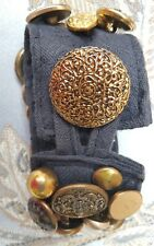 ARTY handmade Brass buttons Cuff Bracelet in black cotton, jingly, cool buttons!