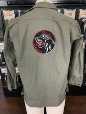 Vtg Green Denim Herringbone Patch Jacket Club Military Coat