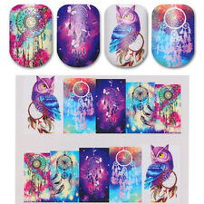 2 Sheets Dreamcatcher Owl Water Decals Manicure Nail Art Transfer Stickers