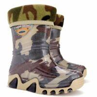 Army Camo Moro Kids Boys Girls Wellies Wellington Rainy SnowBoots +FLEECE-LINED