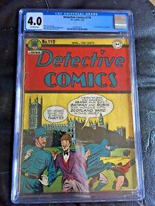 DETECTIVE COMICS #110 CGC VG 4.0; OW; classic Batman in London cover!