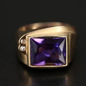 Vintage Estate 14k Gold Sapphire & Diamond Euro Shank Ring