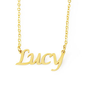 Lucy Name Necklace Stainless Steel/ 18ct Gold Plated | Pendant Gifts For Her