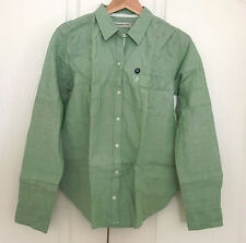 Abercrombie & Fitch Women Shirt M Green Long Sleeve Button Cotton Oxford Fit New