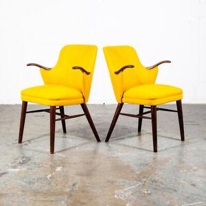 Mid Century Danish Modern Lounge Chairs Pair Rosewood Yellow Armchairs Denmark