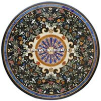 Black Marble Pietradura Table Top Multi Floral Inlay Design Handcarved Art H3872