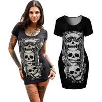 Women Loose Short Sleeve Skull Print Shirt Summer Vintage Mini Package Hip Dress