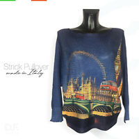 Strick Pullover *Made in Italy 'London' Print  Muster Langarm Pulli Gr: 38-46