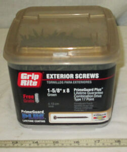 "Grip Rite 5 LBS  Green 1-5/8"" x 8. Exterior, Deck, Fence Wood Screws Philip Comb"
