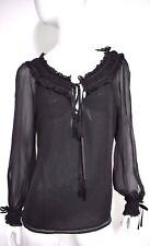Escada Women's Black Long Sleeve Ruffle Silk Chiffon Long Sleeve Shirt Blouse 38