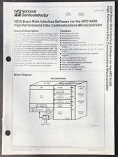National Semiconductor - Isdn Software For Hpc 16400 Controller Data Sheet 1988