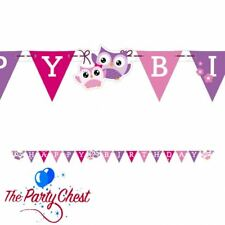 OWL PARTY HAPPY BIRTHDAY LETTER BANNER Pink Purple Hanging Decoration 98350