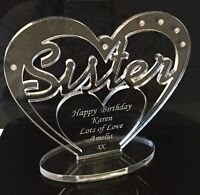 Personalised 'Sister' Birthday Gift Heart with message -  Freestanding Keepsake
