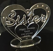 Personalised Sister Birthday Gift Heart With Message