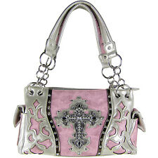 LIGHT PINK WESTERN RHINESTONE CROSS LOOK SHOULDER HANDBAG CONCEALED CARRY PURSE