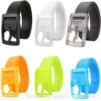 Men's Womens Unisex Plain Smooth Silicone Rubber Leather Belt Plastic Buckle New
