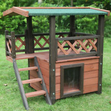Rabbit Hutch Guinea Pig Cage Backyard Cat House with Patio Timber Flooring Small