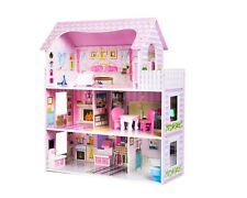 Childrens wooden dolls house complete with accessories