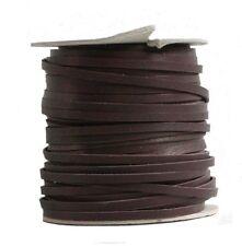 Lederflechtband Känguruleder braun, Länge 50 m, Breite ca. 2 mm, Stärke ca. 1,3
