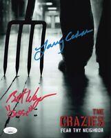 LARRY CEDAR & BRETT WAGNER Signed 8x10 Photo THE CRAZIES Autograph JSA COA Cert