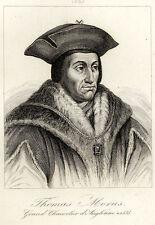 Portrait de Thomas Morus Grand Chancelier d'Angleterre- Gravure originale XIXè