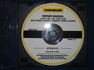 NEW HOLLAND L180 L185 L190 C185 C190 SKID STEER LOADER SERVICE REPAIR MANUAL CD