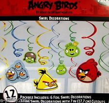 ANGRY BIRDS HANGING SWIRL DECORATIONS (12) ~ Birthday Party Supplies Decorations